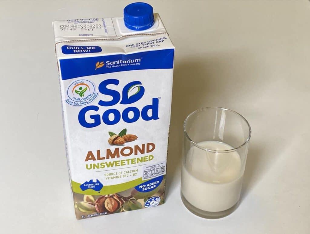 2. นมอัลมอนด์ ยี่ห้อ SO Good สูตรไม่เติมน้ำตาล