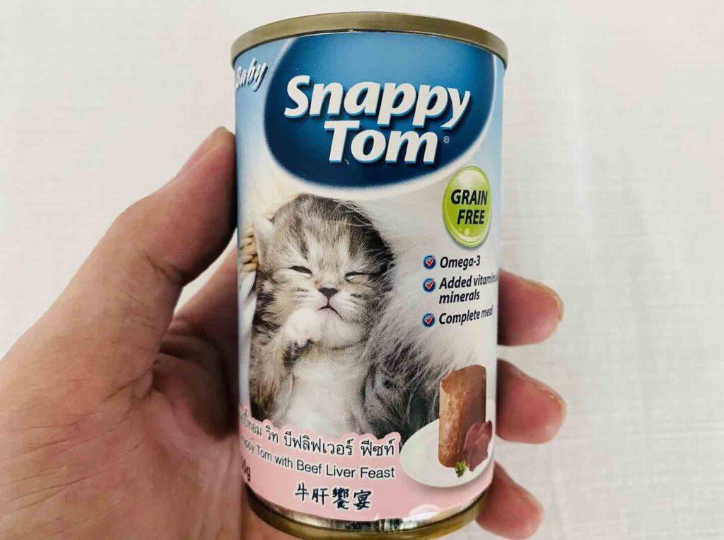 1. อาหารลูกแมว แบบเปียก ยี่ห้อ Snappy Tom รสตับวัว