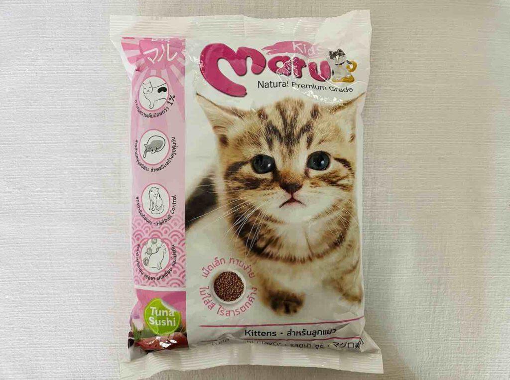6. อาหารลูกแมว แบบเม็ด ยี่ห้อ Maru รสทูน่า ซูชิ