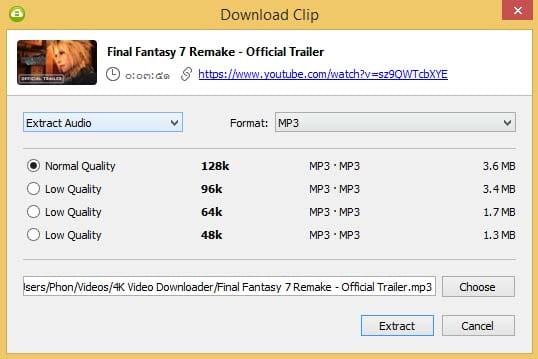 ดาวน์โหลด YouTube MP3 ด้วย 4K Video Downloader