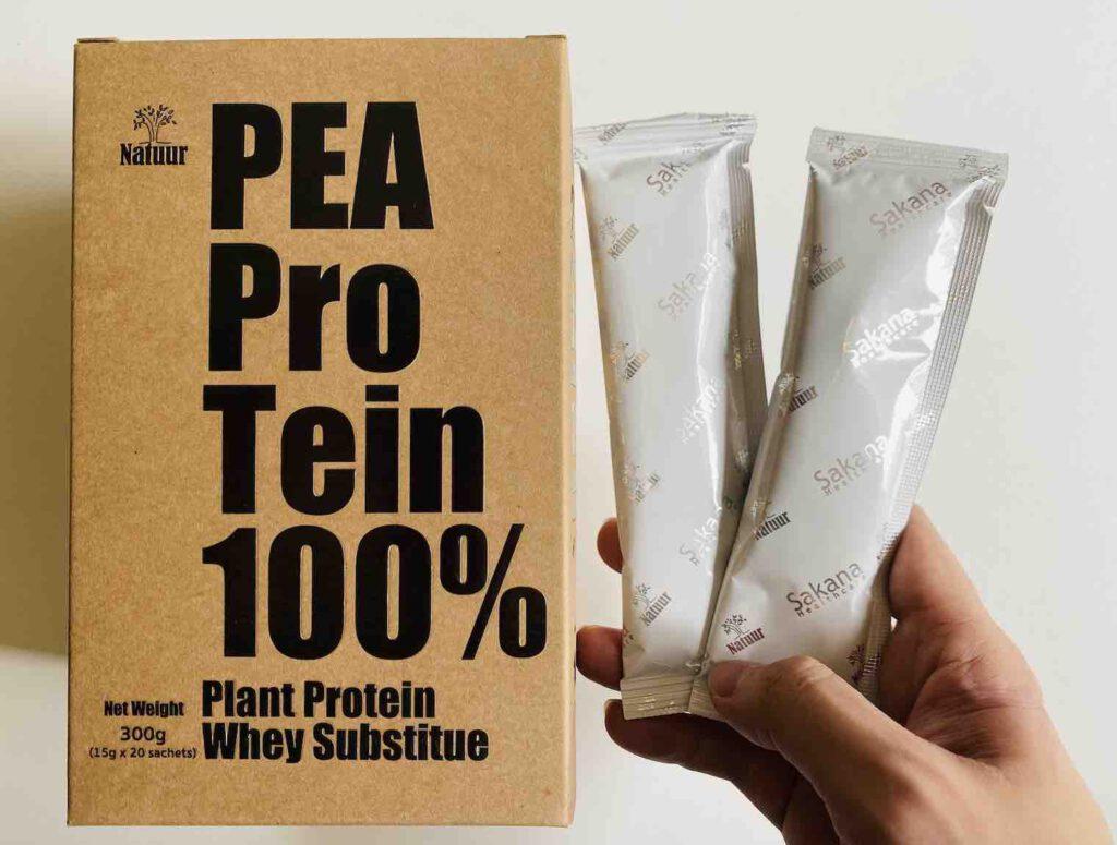 1. เวย์โปรตีน ยี่ห้อ Natuur โปรตีนจากถั่วลันเตา