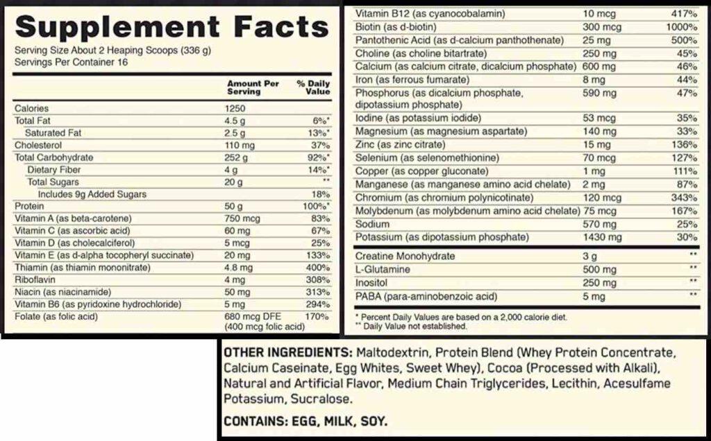 ข้อมูลทางโภชนาการของเวย์เพิ่มน้ำหนัก Optimum Nutrition SERIOUS MASS พร้อมด้วยส่วนผสม แต่ถ้ารสชาติอื่น ๆ พวกข้อมูลและตัวเลขจะแตกต่างจากนี้บ้างเล็กน้อยนะครับ