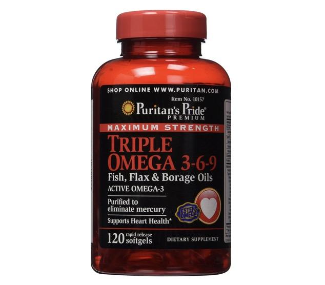 1. อาหารเสริมบำรุงสมอง ยี่ห้อ Puritan's Pride Maximum Strength Triple Omega 3-6-9