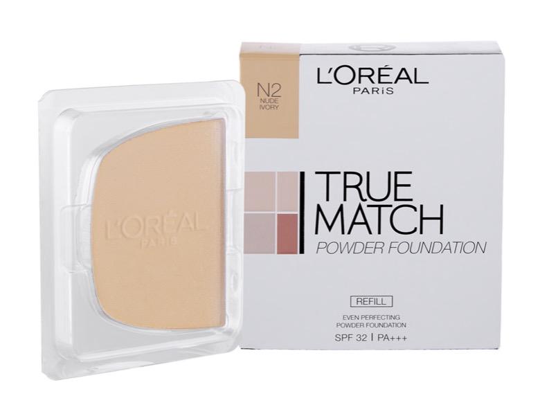 5. แป้งพัฟ ยี่ห้อ L'ORÉAL PARIS True Match Even Perfecting Powder Foundation SPF32 PA+++