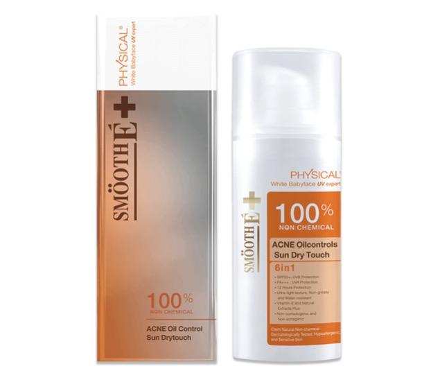 3. ครีมกันแดดคนเป็นสิว ยี่ห้อ Smooth E Physical Sunscreen Sun Dry Touch Acne Oil Control SPF 50+PA+++