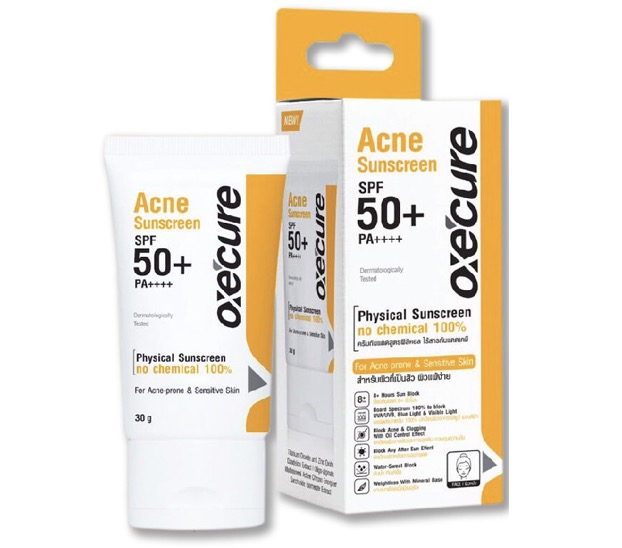 10. ครีมกันแดดสำหรับคนเป็นสิว ยี่ห้อ OXE'CURE Acne Sunscreen SPF50+ PA++++