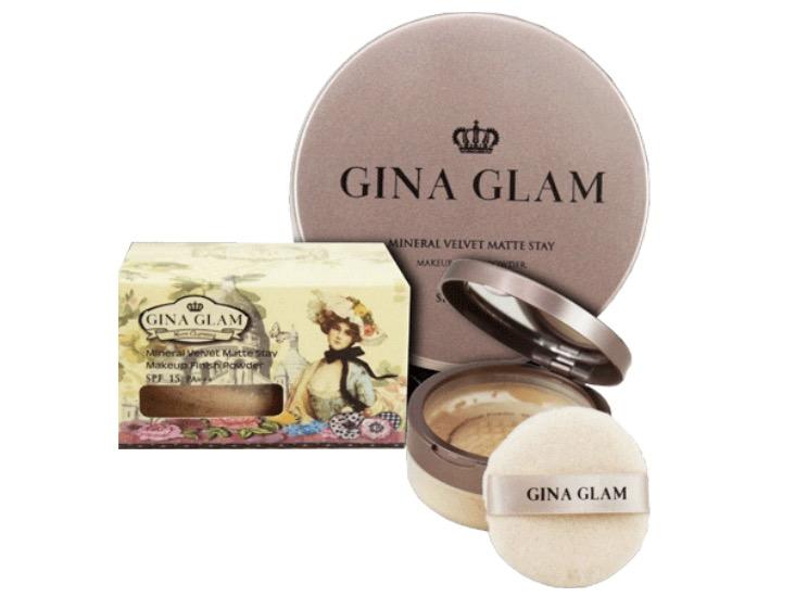 6. แป้งฝุ่น คุมมัน ยี่ห้อ Gina Glam Mineral Velvet Matte Stay Loose Powder SPF15 PA+++