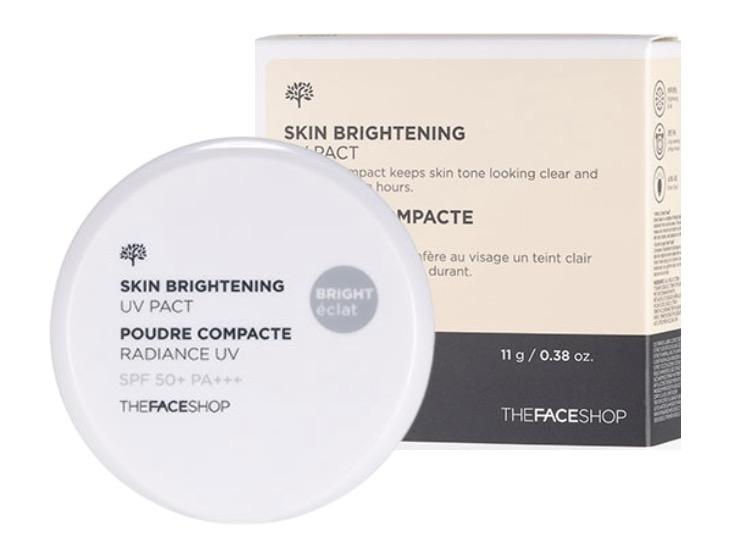 7. แป้งฝุ่นคุมมันเกาหลี ยี่ห้อ THE FACE SHOP SKIN BRIGHTENING UV PACT SPF50+ PA+++