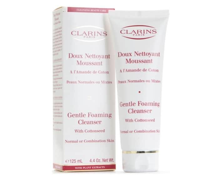 1. โฟมล้างหน้า ผิวผสม ยี่ห้อ Clarins Gentle Foaming Cleanser With Cottonseed