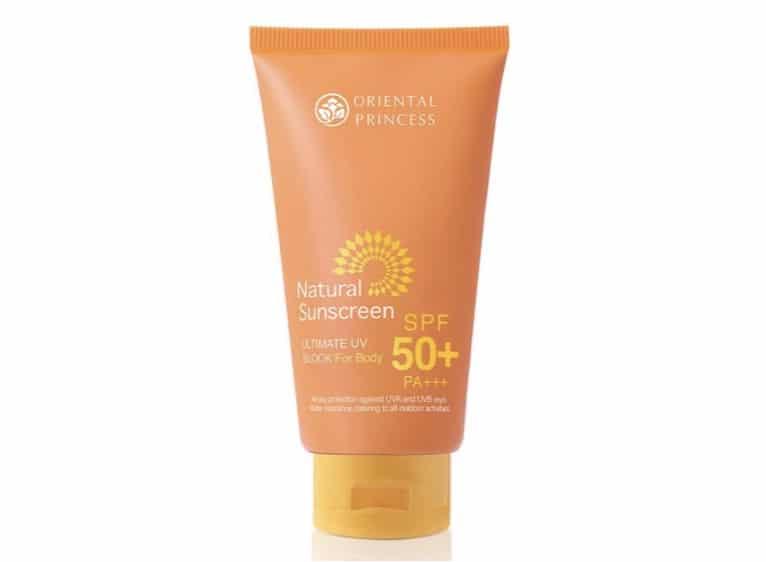 7. ครีมกันแดดทาตัว ยี่ห้อ Oriental Princess Natural Sunscreen Ultimate UV Block for Body SPF 50+ PA+++