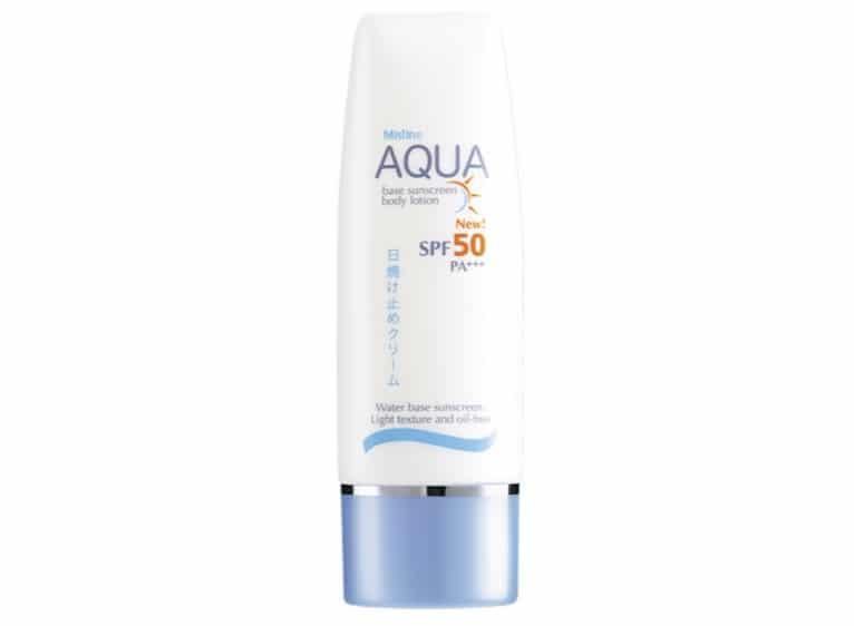 8. ยี่ห้อ MISTINE AQUA BASE Sunscreen Body Lotion