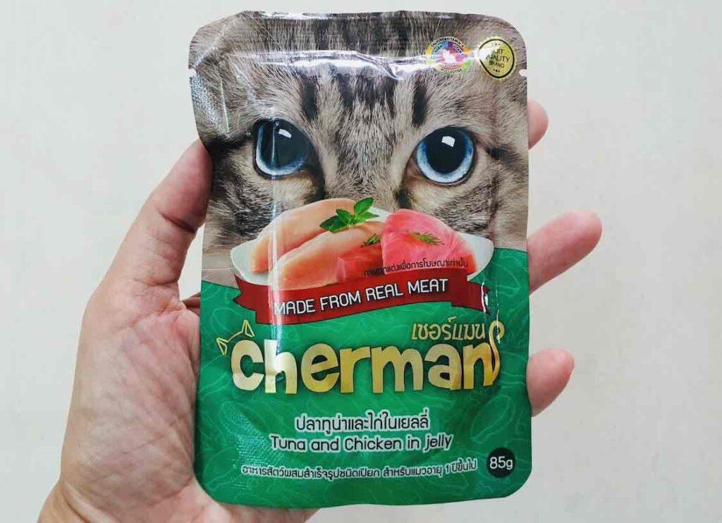 อาหารเปียกแมว 1.1 Cherman สูตรปลาทูน่าและไก่ในเยลลี