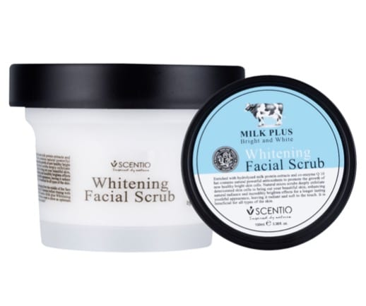 9. สครับหน้า ยี่ห้อ Beauty buffet Scentio Milk Plus Whitening Q10 Facial Scrub