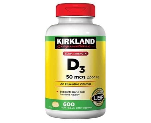 1. วิตามินดี 3 ยี่ห้อ Kirkland Signature Extra Strength D3