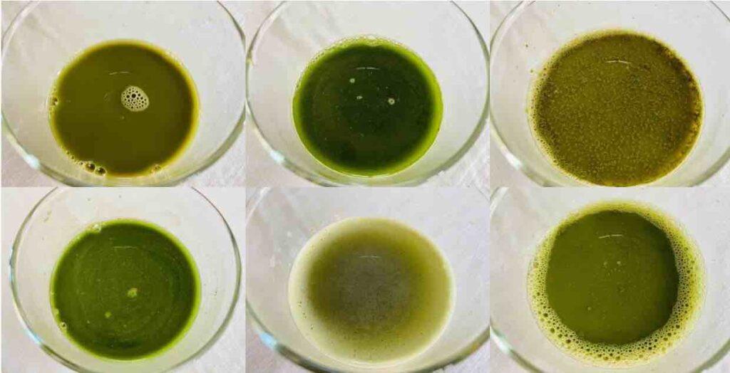 พอนำผงไปชงกับน้ำเปล่าแล้ว จะเห็นว่า น้ำชาเขียวที่ได้ ก็มีสีสันที่แตกต่าง รวมถึงรสชาติก็แตกต่างกันด้วย