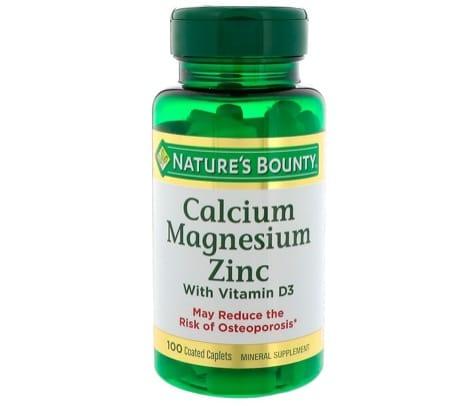 7. อาหารเสริม ซิงค์ ยี่ห้อ Nature's Bounty Calcium Magnesium Zinc and Vitamin D3