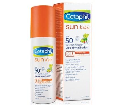4.  ครีมกันแดดสำหรับเด็ก ยี่ห้อ Cetaphil Sun Kids SPF 50+ Liposomal Lotion