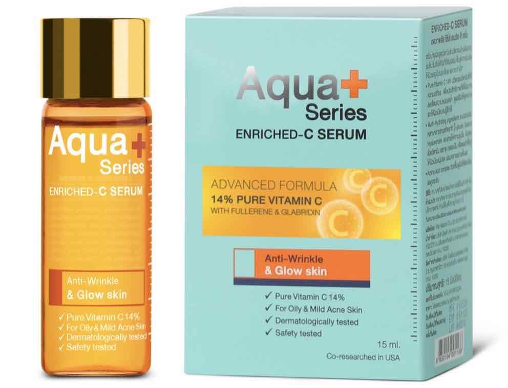 1. เซรั่มวิตามินซี ยี่ห้อ AquaPlus Enriched – C Serum